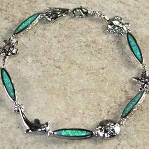 Jewelry - Green Fire Opal Bracelet Sea Animal Crab Star